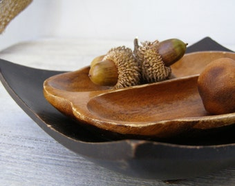 Rustic Carved Wood Bowl Set, Party serving dish, Display bowl, small snack bowls, Table organizer, Retro Kitchenware, small Jewelry plate,