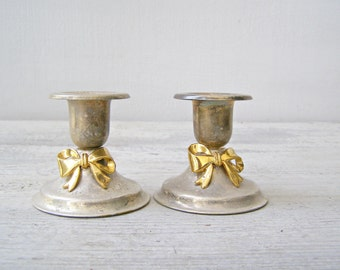 Short Candlesticks Vintage Silver Gold, Art Deco Candleholders, Vintage Wedding Table, Valentines Day Gift, Gold Bow Candlesticks Victorian