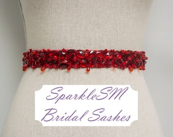 Red Bridal Sash, Wedding Sash, Bridal Belt, Crystal Sash, Rhinestone Sash, Jeweled Belt, Wedding Gown Belt, Red Bridal Belt Bridesmaids Belt