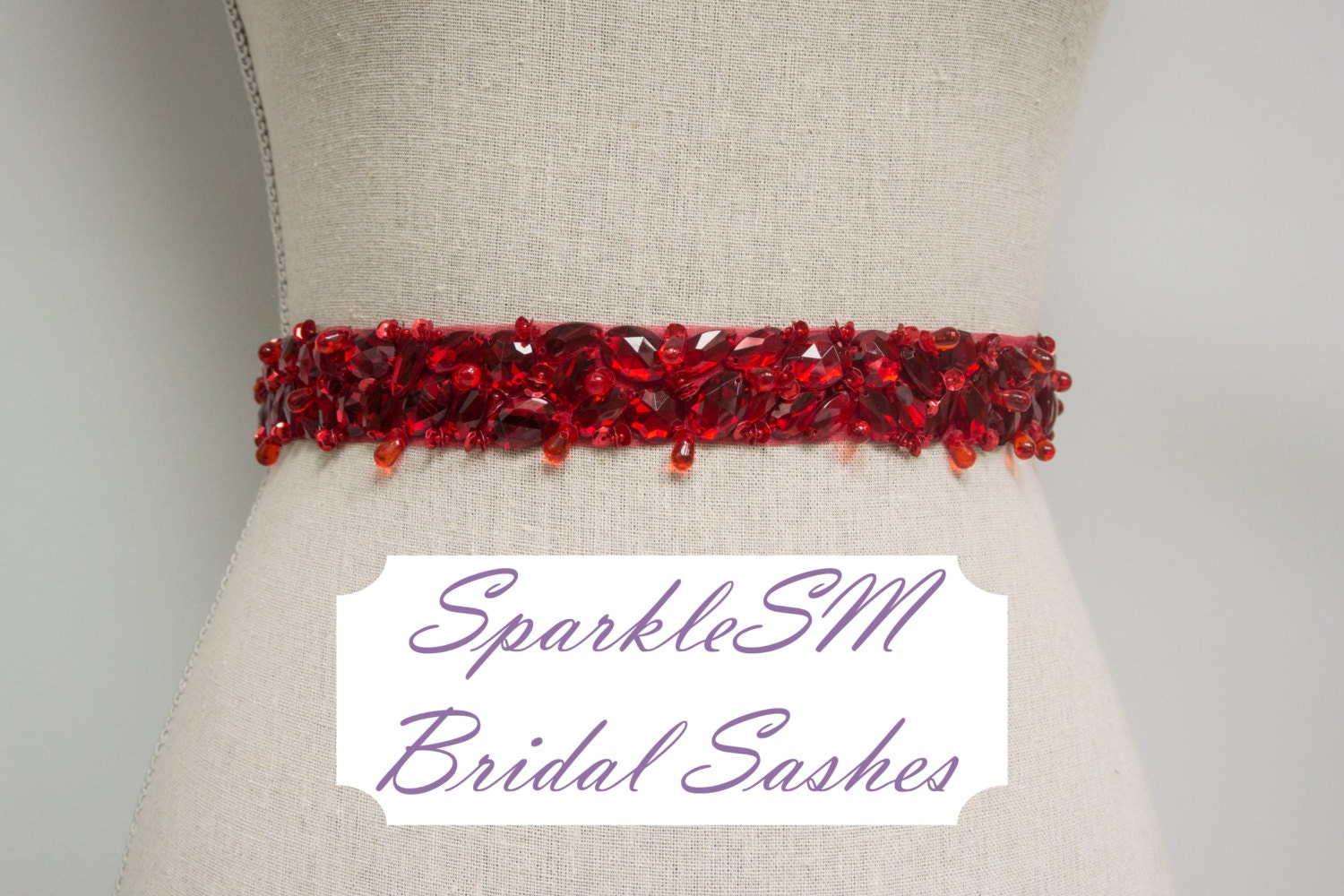 Red bridal sash wedding sash bridal belt crystal sash for Wedding dress with red belt