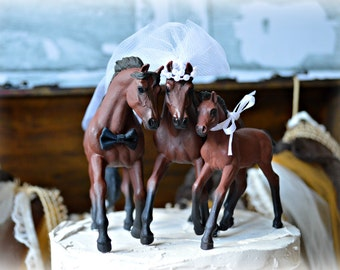 Horse-family-wedding-cake topper-bride-groom-colt-horse back riding-western-cowboy-cowgirl-ivory-custom-animal-horse lover-Mr and Mrs-rustic