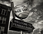 baseball photography 8x10 print Fenway Park, StrongylosPhoto, spinning ball and bat sign, black and white