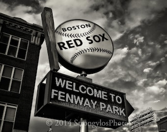 baseball photography print Fenway Park, StrongylosPhoto, spinning ball and bat sign, black and white, Red Sox