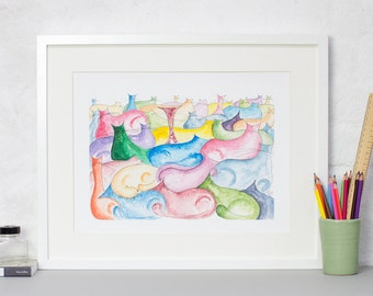 Colourful Cats Small Print, Cats Illustration, Colourful Quilt of Cats