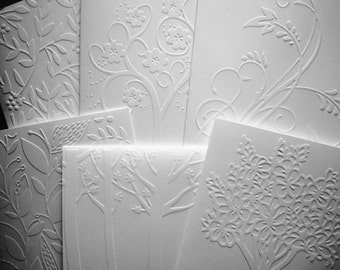 Set of 6 Embossed Trees and Leaves Notecards