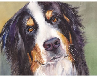 "5x7"" Bernese Mountain Dog Watercolor Giclee Fine Art Print [Watercolor Pet Portrait, Watercolor Print, Gift For Dog Lover, Dog Artwork]"