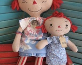 "Primitive Raggedy Folk Art  Prim Doll Red Hair 15"" and Daughter Doll 9 1/2""  Set FAAP HAFAIR OFG"