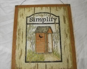 simplify country bath wooden wall art sign bathroom decor outhouse plaques