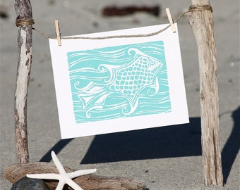 Aqua Fish in Ocean Linocut Print