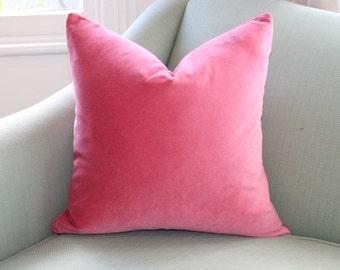 Coral Velvet Pillow Cover.