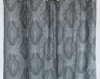 Grey Window Curtains Panels Grey Drapes with grommets - Set of 2