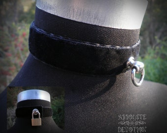 Classic Black Velvet Special Lockable Luxury Collar with Lock- In Stock, Ready to Ship - Absolute Devotion