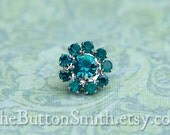 Rhinestone Buttons -Cleopatra- (11mm) RS-001 in Peacock - 20 piece set