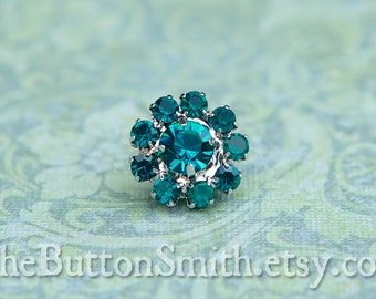 Rhinestone Buttons -Cleopatra- (11mm) RS-001 in Peacock - 5 piece set
