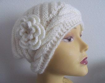 Women Winter Beanie Hat With Flower In Cream, Women Hat, Usa Seller