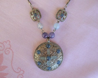 Signed KC necklace pendant silver tone with grey and blue beads and enamel