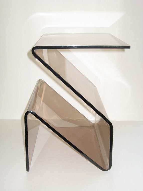 Heavy Thick Smoked Lucite Zig Zag Side End Table Amp Magazine