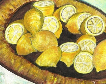 Lemon Painting Still Life Original Painting Mixed Media Painting Art Study