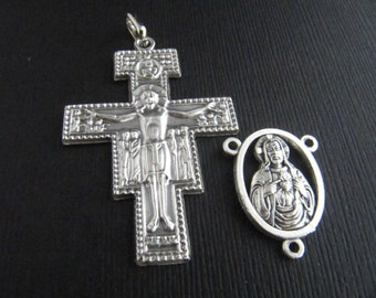 Italian Made Large San Damiano Crucifix and Matching Sacred Heart of Jesus Rosary Center - 1 pair