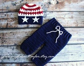 Baby Hat, Red, White, and Blue Crochet Hat and Pants Set, Newborn Hat, Crochet Pants, Photo Prop, Baby Hat