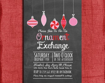 Printable Chalk style Holiday Ornament Exchange Party Invitation-DIY