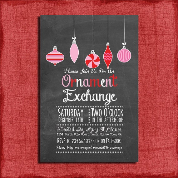 Printable Chalk Style Holiday Ornament Exchange Party
