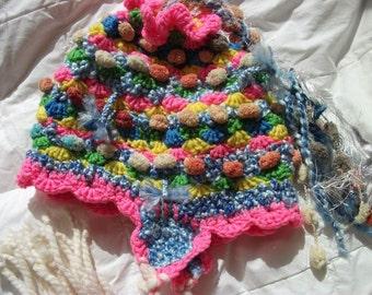"""freeform crochet """"Smile Be Happy"""" hat"""