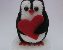 Vanessa the Valentine Penguin - Penguin Cake Topper - Penguin with Love Heart