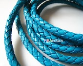 Leather Cord 6mm - Turquoise Blue Round Braided Bolo Genuine Leather Cord ( Hole Inside )