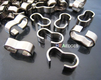 Finding - 6 pcs Silver Wave Head Connector with Round Edge Opening Tubes 16mm x 8mm x 5mm ( Inside 14mm x 6mm Hole )