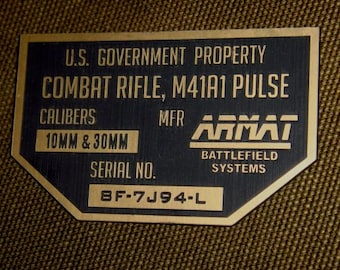 ALIENS M41A1 Pulse Rifle Serial Data Plate Prop