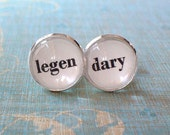20% OFF -- 16 mm Black and white Legendary wedding Cuff Links ,Barney Stinson quote ,Mens Accessories, Perfect Gift Idea (White)