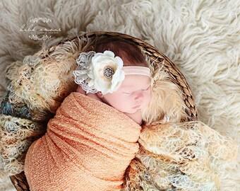 Stretch wrap - 'PEACH' newborn stretch wrap  / scarf - prop blanket - knitbysarah - Stitches by Sarah