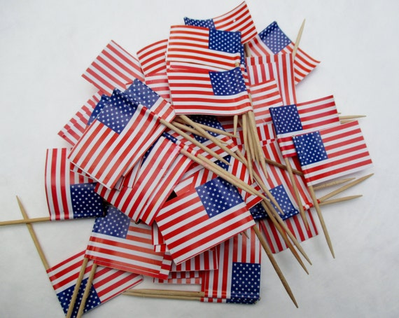 Set of 60 American Flag Picks... Party, Cupcake, Barbecue, Sandwich Picks...NEW SUPPLY
