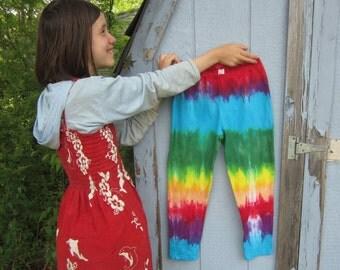 Rainbow Capri Leggings for Women and Teens, Size Medium