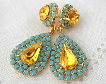 Yellow and turquoise Chandelier earrings, Bridal earrings, 14k Gold, Dangle earrings, Drop earrings, Rhinestone earrings, bridesmaids