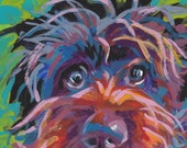 """Wirehaired pointing griffon print of pop art dog painting bright colors 8.5x11"""" portrait"""