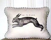 """shabby chic, feed sack, french country, vintage rabbit graphic with ticking stripe welting 12"""" x 16"""" pillow sham."""