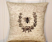 "shabby chic, feed sack, french country, vintage bee graphic on brown and creme script print 14"" x 14"" pillow sham."