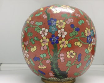 Antique Cloisonne Vase Circa 1900-1930 Flowers Marked China  Enamel Brass Oriental Asian Blue Colorful