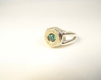 Remington 357 Magnum sterling silver CA and nickel plated brass bullet ladies ring