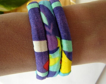 Fabric Bracelet - Vibrant Tropical Print Cuff