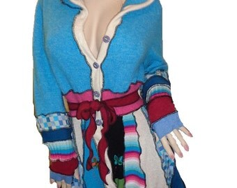 SALE: Hooded elf coat of upcycled sweaters with embroidered and beaded butterflies