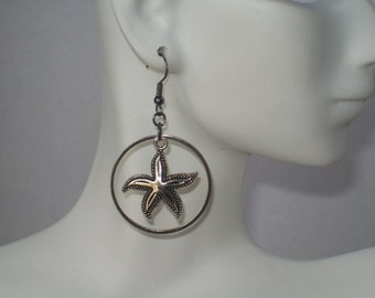 Starfish Earrings, Silver Starfish in Silver Circle, Ocean Creature, Marine Life, Starfish Dangle Earrings