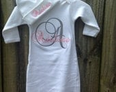 Monogrammed pink and grey  Baby Boy/Girl gown Coming Home Outfit - Baby Shower Gift - baby girl embroidery gown - Layette