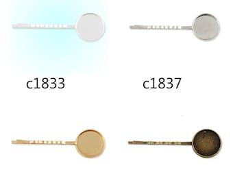 50pcs 55x18MM Bobby Pin With bezel,fit 18mm round cabochons,bobby pin,bobby blanks,hair pin