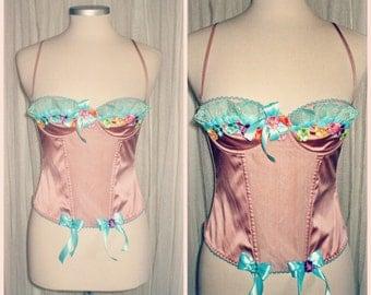 20% off etsy614  ooak Burlesque  vintage corset .....romantic,shabby,marie antoinette,couponcode SALEFORYOU