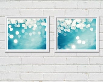 bokeh photography abstract nautical decor fine art photography set of 2 8x10 bright teal beach photography light ripples coastal decor