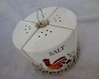 Vintage Rooster Spice Shakers in Carrier