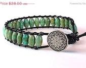 ON SALE Wrap Bracelet - Gemstone Turquoise - Greek Leather Cord - Button Clasp